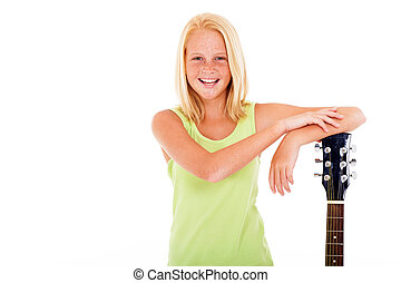 young preteen girl with a guitar - happy young preteen girl...