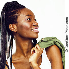 young pretty african-american girl posing cheerful emotional on
