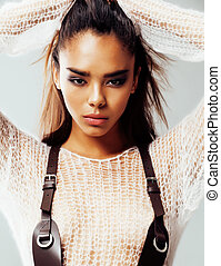 young pretty african american sexy girl with fashion make up, lifestyle people concept close up