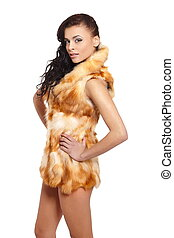 young pretty beautiful sexy nude brunette girl in fur coat bright makeup long curly hair isolated on white