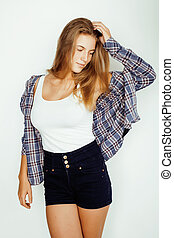 young pretty blond girl hipster posing frendly against white...
