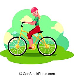 Young pretty blond woman, girl riding a bicycle, cycling