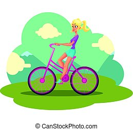 Young pretty blond woman, girl riding pink bicycle, cycling
