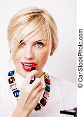 young pretty blond woman with red lipstick looking in camera, lifestyle people concept