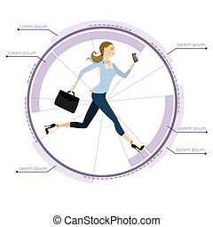 Young, pretty Business woman  running in a circle, infographic template