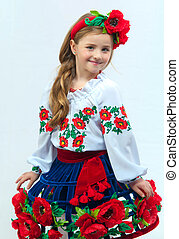 Young pretty girl in a ukrainian national costume