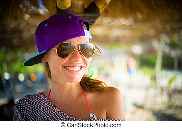 Young Pretty Girl Wearing Sunglasses Smiling