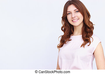 Young pretty girl with curly hair on white background