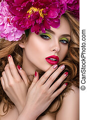 Young pretty girl with flower wreath - Close-up beauty...