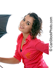young pretty girl with umbrella. on white background.