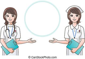 Young pretty nurses guiding informa