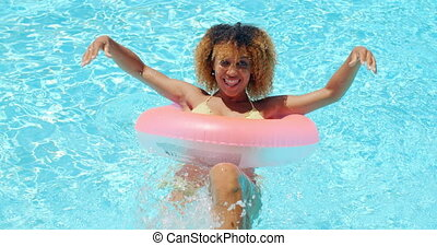 Young Pretty Sexy Woman Posing in Pool - Young Pretty Sexy...