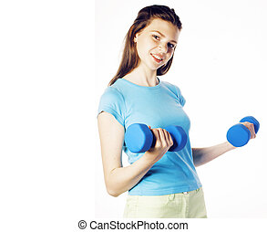 young pretty slim blond woman with dumbbell isolated cheerful sm
