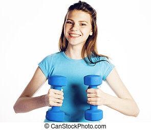 young pretty slim woman with dumbbell isolated cheerful smiling, real sport girl next door, lifestyle people concept