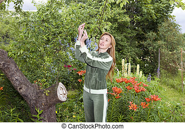 Young pretty woman considers set of fruits on aple tree