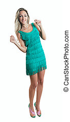 Young pretty woman dancing in dress with fringe