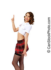 Portrait of a young pretty woman dressed in retro style