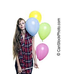 Young Pretty Woman holding Colorful Balloons on White Background