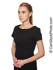 young pretty woman in black dress looking away isolated