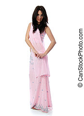 Young pretty woman in indian sari dress