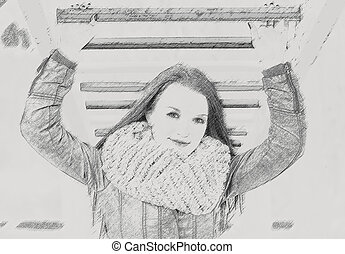 Young pretty woman in park. Effect pencil.