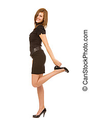 young pretty woman on a white background