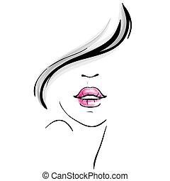 Young pretty woman portrait sketch