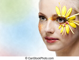 Young pretty woman portrait with professional makeup. skin texture saved