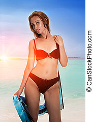 Young pretty woman stands in bathing suit