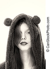 Young Pretty Woman Wearing a Hood with Animal Ears