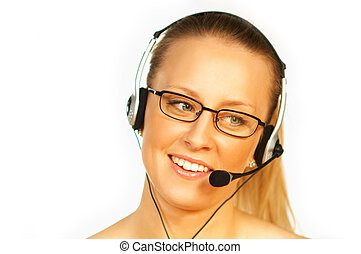 Call Centre Agent - Young pretty woman wearing a phone...