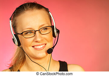Call Centre Agent - Young pretty woman wearing a phone ...