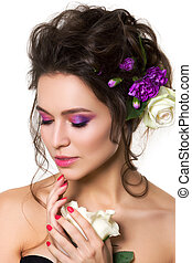 Young pretty woman with bright pink makeup - Portrait of...