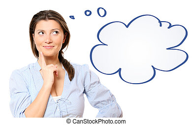 A portrait of a young beautiful woman lost in her thoughts over white background