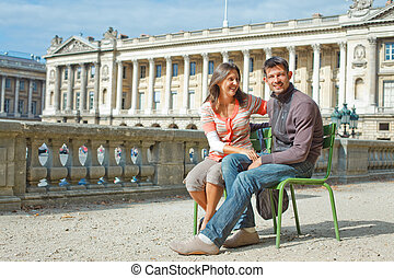 Young Pretty young couple relaxing in Paris