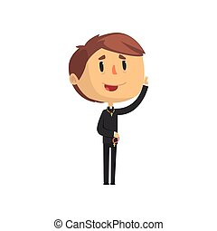 Young priest character blessing people, catholic preacher, holy father in robe cartoon vector illustration