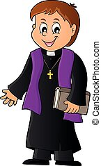 Young priest topic image 1 - eps10 vector illustration.