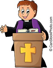 Young priest topic image 2 - eps10 vector illustration.