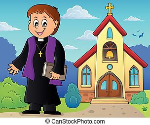 Young priest topic image 3 - eps10 vector illustration.