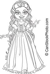 Young princess with long hair outlined
