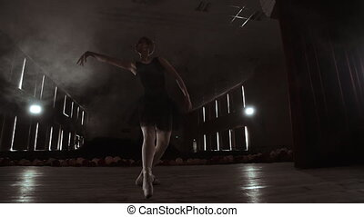 Young professional ballerina making circular movements on...