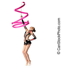 young professional gymnast dance with ribbon