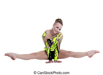 Young professional gymnast doing a splits isolated
