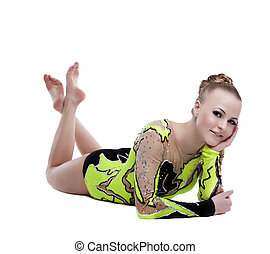 Young professional gymnast relax portrait isolated