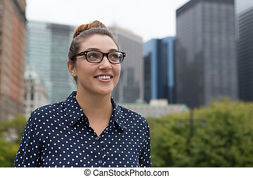 Young professional woman in the city. Photographed in New...