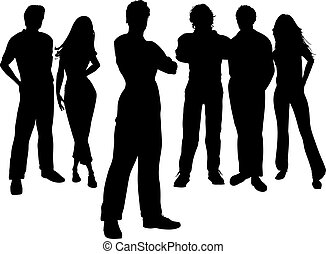 Young professionals - Group of young people with one person...