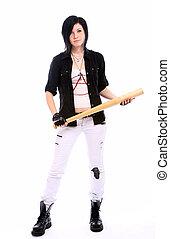 Young punk girl with baseball bat