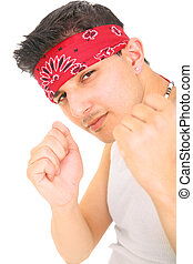 Young Punk Showing Fist