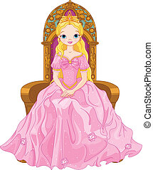Young queen - Illustration of young queen sitting on the...