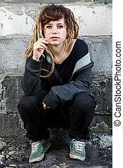 Young rastafarian girl smoking weed - Young rastafarian girl...